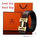Cinturón marca de lujo de Moda de Alta Calidad de piel de Vaca Correa de Cuero Genuina para los hombres y Las Mujeres Cinturones de La Cintura Wtih Caja de Oro Hebilla De Plata H