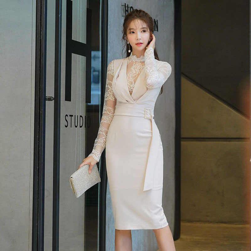 Women Spring Pencil Dress 2019 Plus Size Off White Long ...
