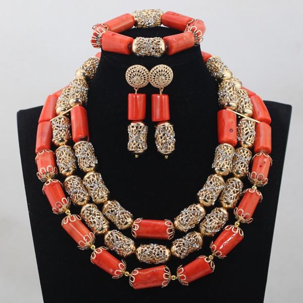 2017 Classic Orange Coral Beads Jewelry Set Nigerian African Wedding Bridal/Women Beads Necklace Jewelry Set Free Shipping CJ804 splendid nigerian wedding beads vintage classic jewellry set choker necklace set african women bridal jewelry set
