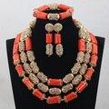 2017 Classic Orange Coral Beads Jewelry Set Nigerian African Wedding Bridal/Women Beads Necklace Jewelry Set Free Shipping CJ804