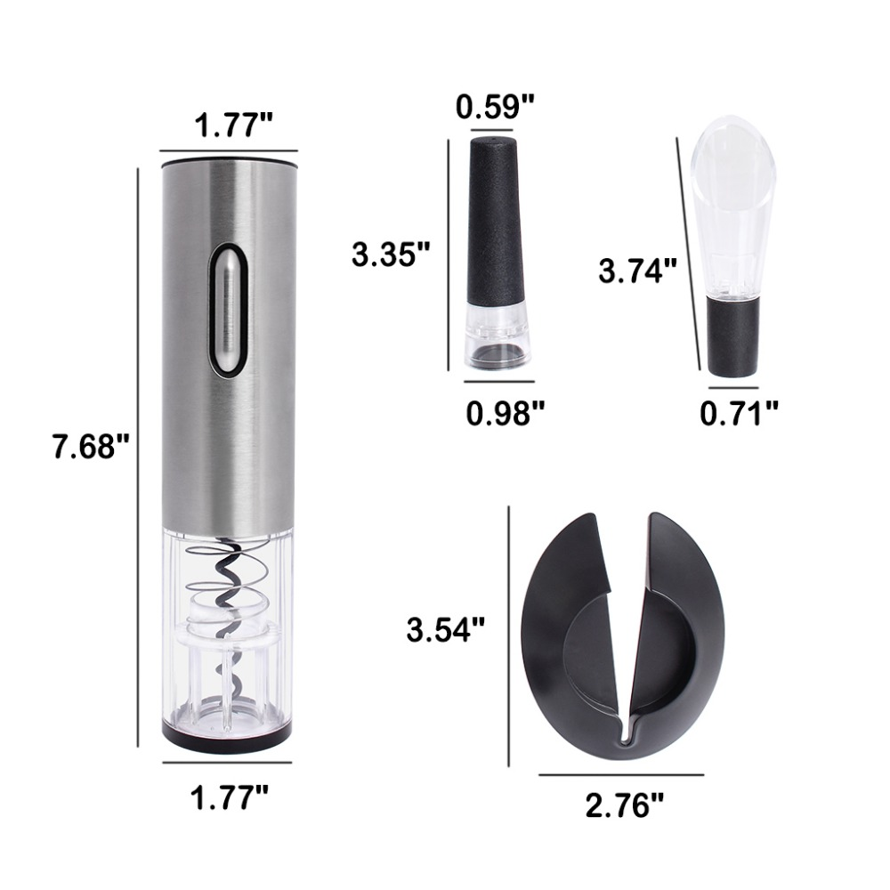 Stainless Steel Electric Bottle Opener USB Rechargeable Electric Bottle Opener Five-Piece Wine Accessories Gift Set with Foil Cutter Vacuum Stopper Wine Pourer (2)