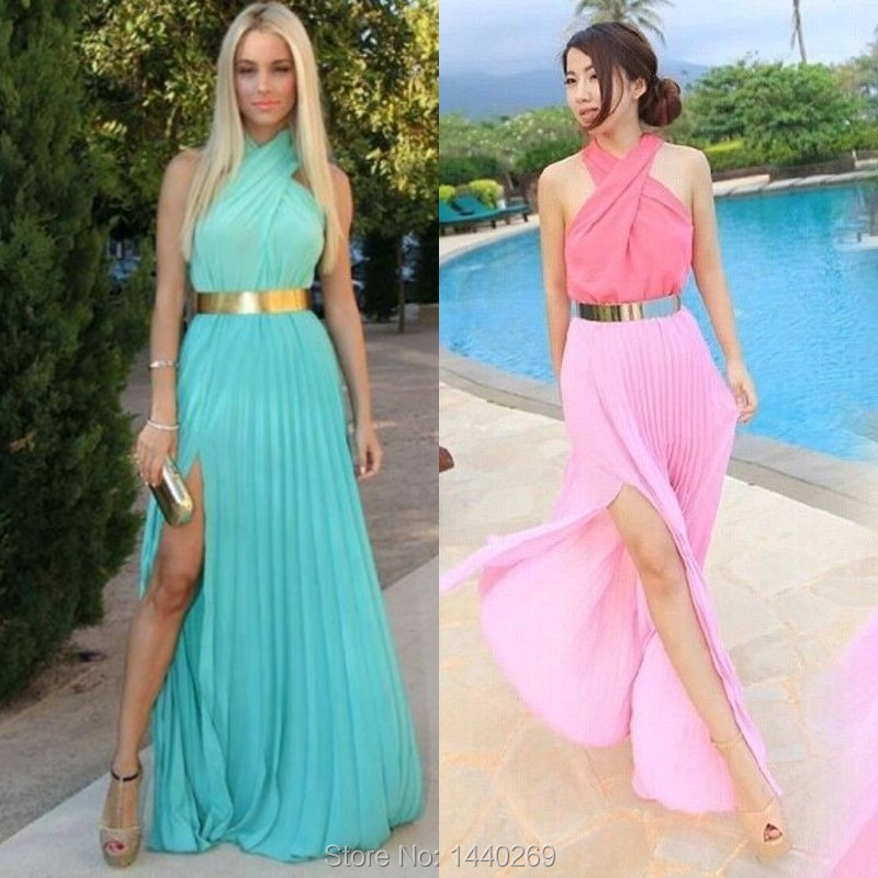 Mint green and gold dress