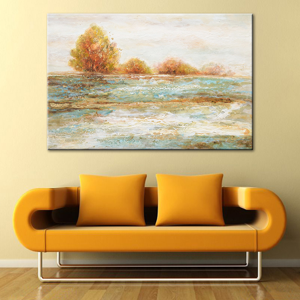 Abstract River Water Hand Painted Oil Painting Tree Canvas Paint ...