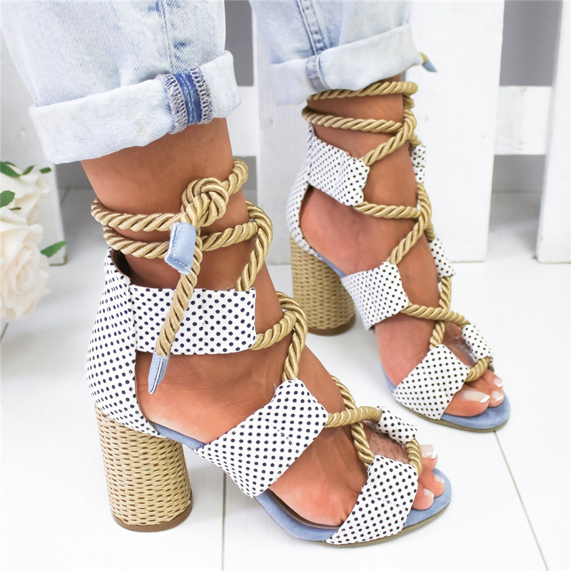 WHITE POLKA Bohemian Summer Wedge Sandals Women Pointed Fish Mouth Lace Up Platform Shoes