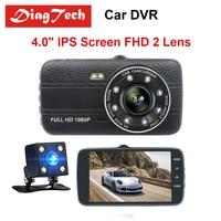 Best Quality 4 Inch Car DVR IPS Screen Dual Len Full HD 1080P Rearview Mirror Camera Auto Recorder Dashcam Night Vision G sensor