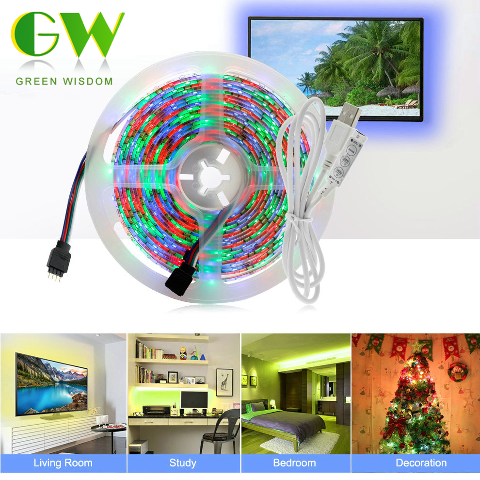 DC 5V USB LED Strip 2835 RGB 60LEDs/m 50CM 1M 2M 3M 4M 5M TV Background Lighting RGB LED Strip Adhesive Tape IP65 Waterproof 1m 2m 5m 30cm 4 pin rgb led connector extension cable cord wire with 4pin connector for rgb led strip light free shipping