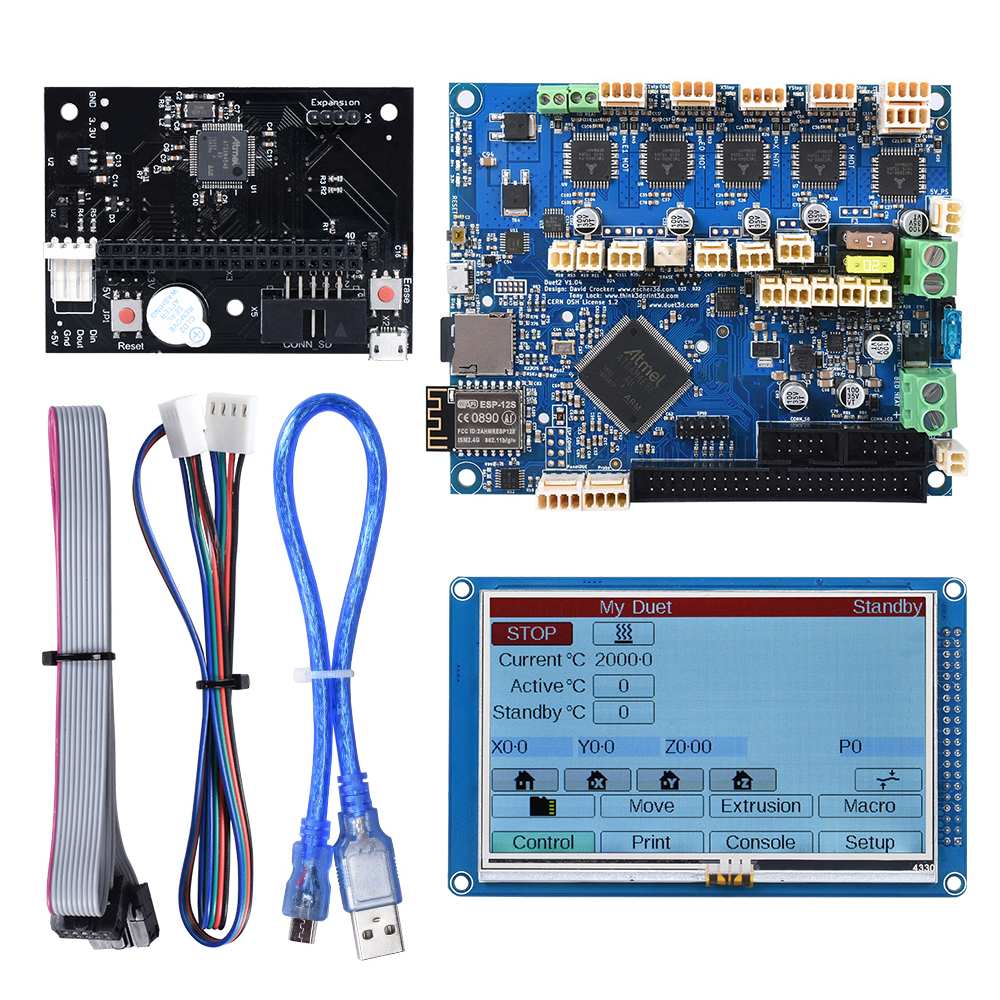 3D Printer Motherboard Cloned Duet 2 WIFI V1.04 Controller Board 32 Bit With WIFI 4.3 PanelDue Touch Screen For CNC Machine image