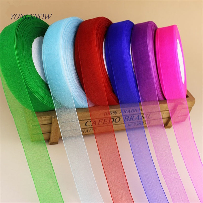 2cm Organza Silk Ribbon Chiffon Roll Sewing Fabric Craft Gift Wrapping DIY Crafts Gift Packing Belt Party Wedding Supplies in Ribbons from Home Garden