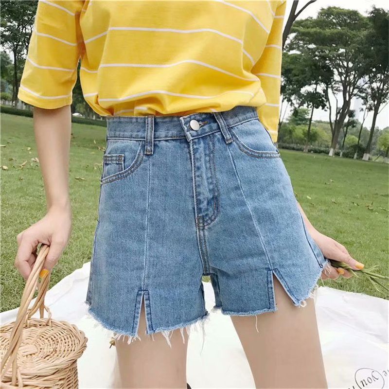 Zebery Solid Color Retro Tassel Decoration Woman Summer   Shorts   Pocket Decoration Denim   Shorts   Black Blue