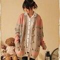 Harajuku Mujeres del Otoño del Resorte de Dibujos Animados Ciervos Jacquard Lolita Kawaii Lindo Botón Cardigan prendas de Vestir Exteriores Femenina Suéter Mori Chica C021
