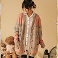 Harajuku Spring Autumn Women's Cartoon Deer Jacquard Button Cardigan Outerwear Lolita Cute Kawaii Female Sweater Mori Girl C021