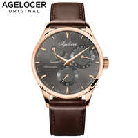 Agelocer Army Retro Watch Men Mechanical Power Reserve 42 Hours Gold 316L Steel Multi function Watch Auto Date 5ATM Waterproof