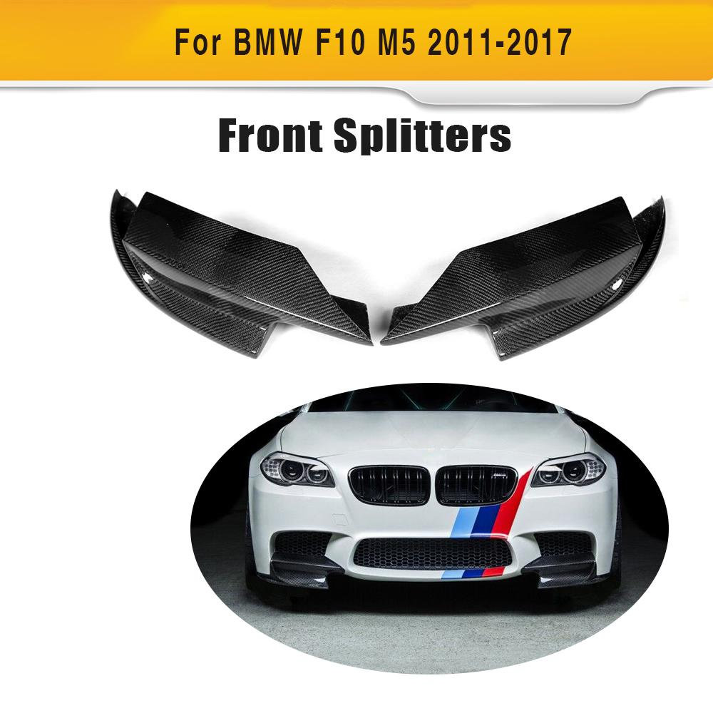 Carbon fiber car auto front bumper splitter lip diffuse splitters for BMW F10 M5 Sedan 4 Door Only 11-17 K style Grey FRP universal auto car bumper moulding decorative fins canards front splitter sticker carbon fiber car styling for all cars 4pcs set