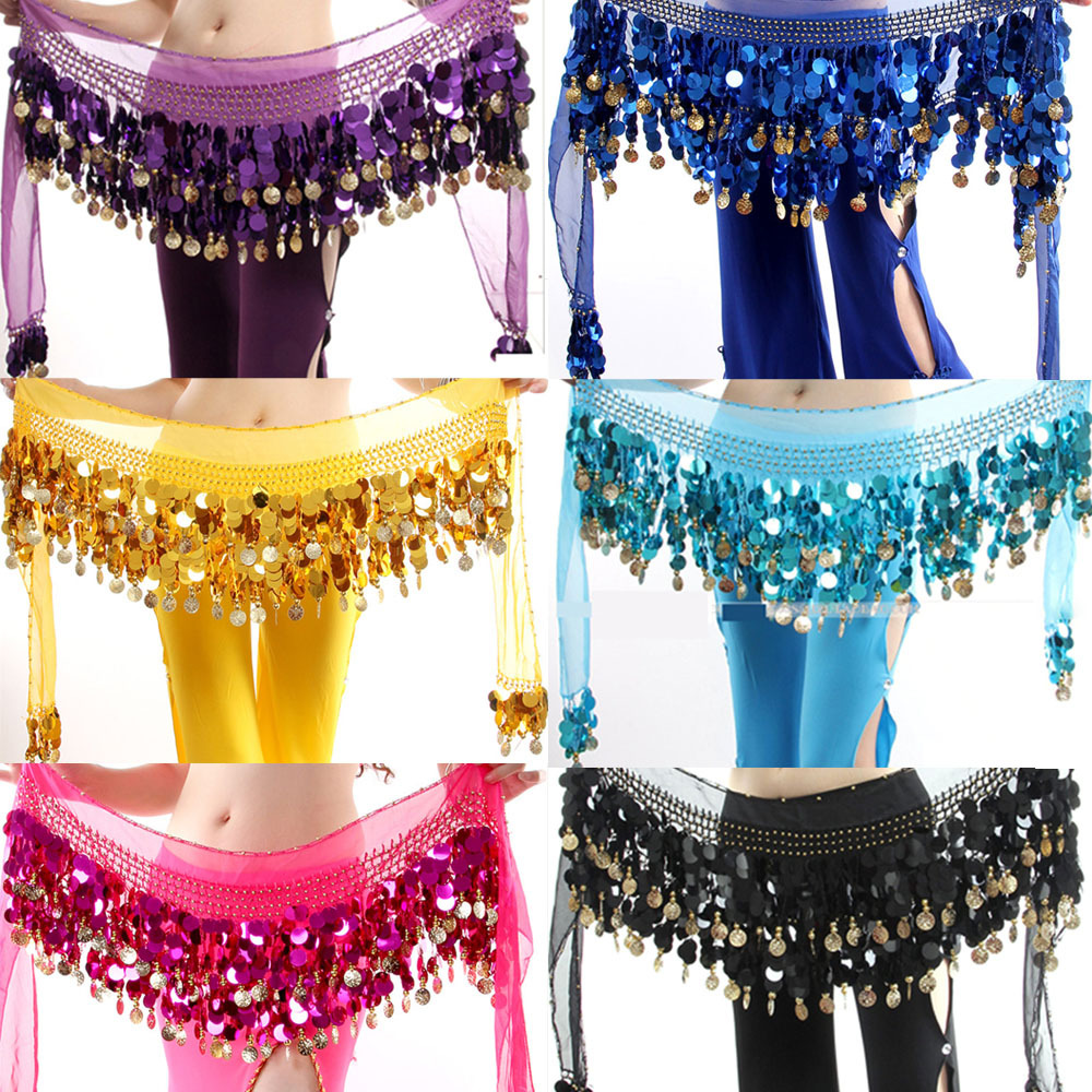 Women Colorful Belly Dancer Costume Stage & Dance Wear Hip Scarf Wrap Sequins Belt 58 Coin Chiffon Skirts