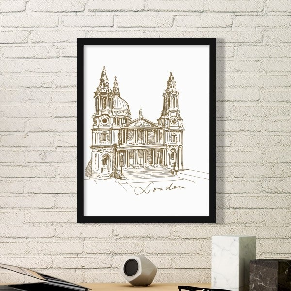 Eiffel St.Paul's Cathedral Britain England London Iandmark Pattern Simple Picture Frame Art Prints of Paintings Home Wall Decal