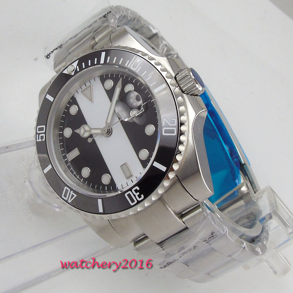 43mm Bliger Black White Dial Sapphire Glass Deployment Clasp Luminous Marks Date ceramic bezel Automatic Movement men's Watch цена