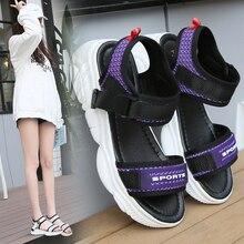 Liren 2019 Summer Fashion Casual PU Comfortable Breathable Flat Platform Heels Round Open Toe Sandals Women Size 35-40