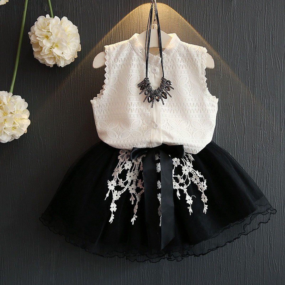 2PCs Toddler Baby Kid Girls clothes set Sleeveless lace blouse shirt Vest Tops Tutu Mesh Skirt White Black suit Outfits 2-7T inc international concepts new white sleeveless linen blouse 2 $48 99 dbfl