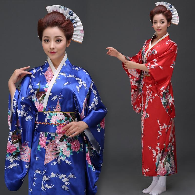 Japanese Kimono Dress Imitation Silk Women Yukata Costume Janpanese Traditional Costme Female Performance Cosply Costume 89