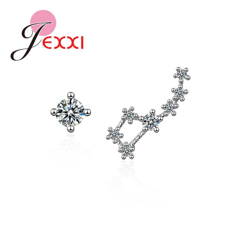 Big Promotion 925 Sterling Silver Dazzling Cubic Zirconia Exquisite Irregular Constellation Hollow Female Jewelry Earrings