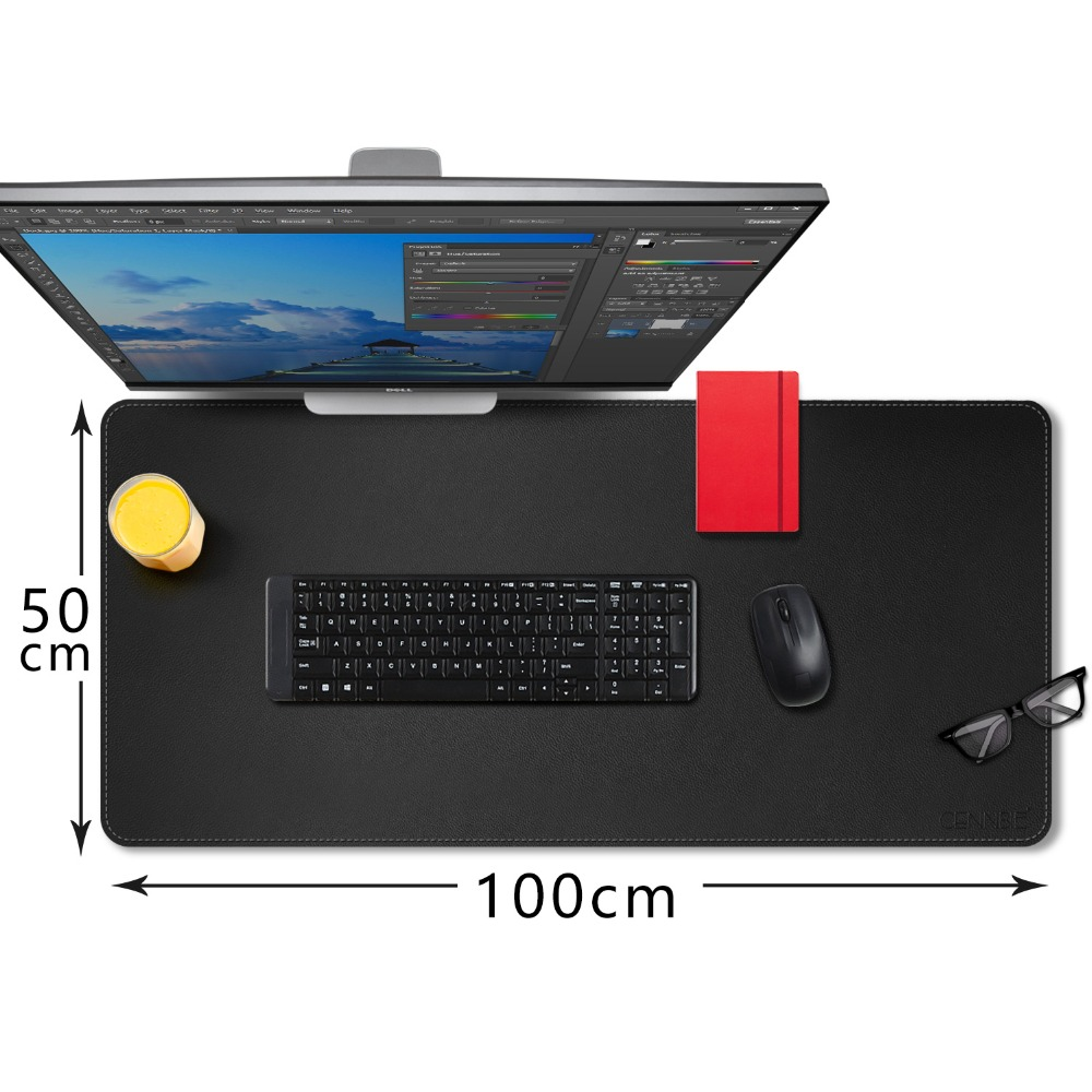 CENNBIE Desk Pad Protecter 100*50cm PU Leather Mat Blotters Organizer with Comfortable Writing Surface(Black)
