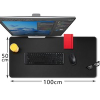 CENNBIE Desk Pad Protecter 100*50cm PU Leather Desk Mat Blotters Organizer with Comfortable Writing Surface(Black)