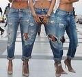 Das mulheres Denim Rasgado Calças Jeans Stretch de Cintura Alta Fino Lápis Calças Skinny Atacado Em Todo O Mundo