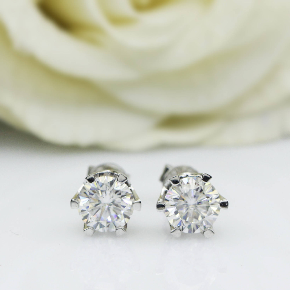 Genuine14K 585 ctw Ouro Branco Empurrar Para Trás 1 Carat Test Lab Positiva Grown Moissanite Brincos de Diamante Para As Mulheres