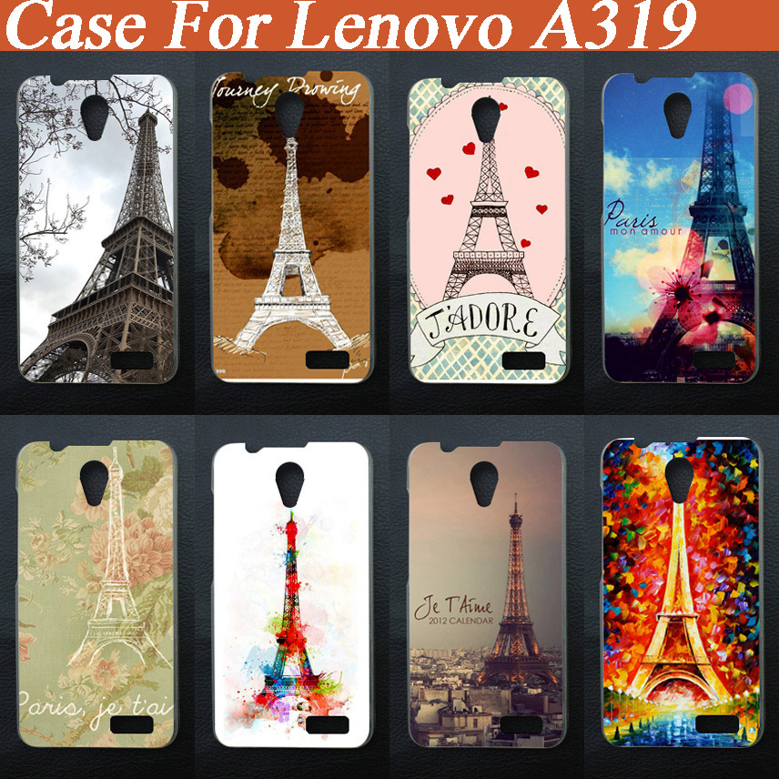online retailer 20833 bd19a US $1.22 32% OFF|Fashion DIY Case Eiffel Tower Design Cover Pattern case  For Lenovo A319 Skin Shell Phone Case Hard Back Cover Case-in Half-wrapped  ...