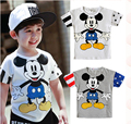 2016 Baby Boys Cartoon Mouse Tops Cotton Short Sleeve T-Shirts 2-7Y Toddler Pullover Clothes