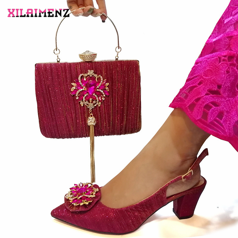 Image 4 - Pink Color Nigerian Sandals with Matching Bag for Woman Pointed  Toe Shoes and Purse Set High Quality with Crystal for PartyWomens  Pumps