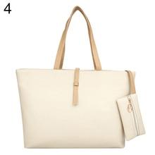 American Style Women's Big Shoulder Bag Faux Leather Handbag Buckle Clutch Messenger Purse