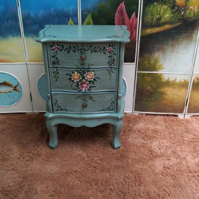 Well-known American minimalist retro rustic hand painted bedside table 3  MI48