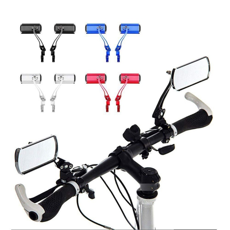 2pc Bike Bicycle  Back View Mirror Rearview Rear Mirror Black Handlebar Flexible