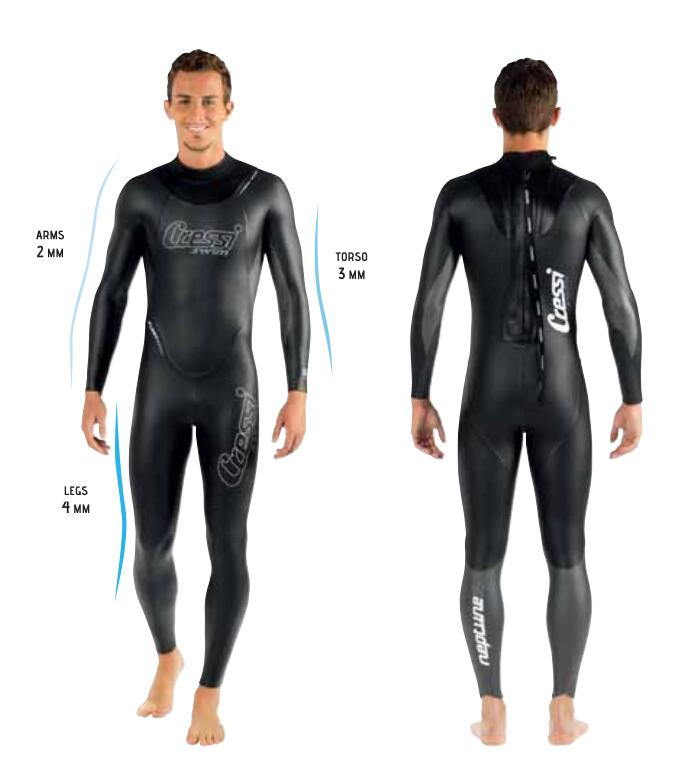 Cressi NEPTUNE Freedive Wetsuit Swimming Suit 2 3 4 MM WITH MULTITHICKNESS TECHNOLOGY