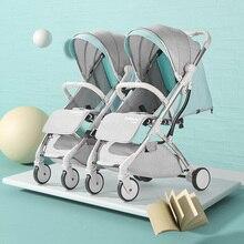 Коляска детская коляска для Близнецов Четыре Колёса коляска сиденье для младенцев в самолет Сложить Легкая коляска