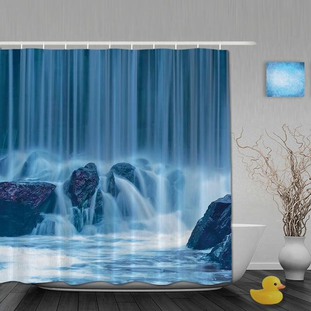 Winter Waterfall Bathroom Shower Curtains Natural Curtain Waterproof Polyester Fabric Custom Hooks