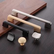 Modern Black Drawer Pulls Knobs Handles Door Handles Dresser Pulls Knobs Brushed Steel Cabinet Handles 96 128 160 192 224 320mm