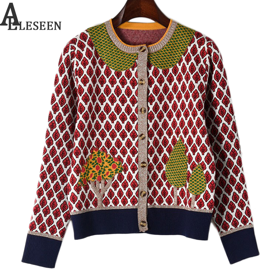 Summer Casual High Quality Women Sweater Fruit Tree Embroidery Leaf Print 2018 Spring Fashion Designer Sweater Patchwork Knit-in Cardigans from Women's Clothing    1