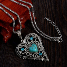 SHUANGR 2015 New blue heart stone pendant Silver-color chain crystal vintage heart long necklaces women collier femme