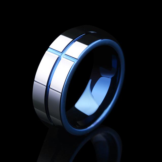 Tungsten Carbide Rings Blue Plating Inside
