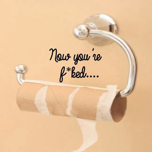 Free shipping funny bathroom wall stickers toilet quote seat decal ...