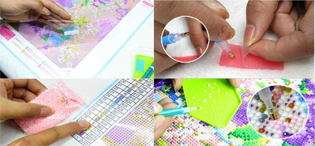 Рукоделие узоры DIY 5D алмазная картина синие и белые ромашки вышивка крестиком Мозаика Стразы для вышивки домашний декор