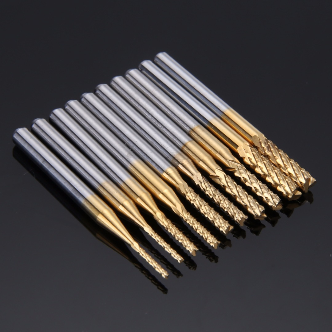 10pcs 37mm Length End Mill Set Titanium Coated Carbide CNC Engraving Bit 1/1.5/2/2.5/3mm For Milling Holes 10x titanium milling cutters coated carbide pcb engraving cnc bit router tool 45 degree 0 2mm tip