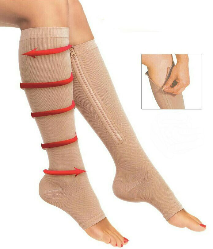 2018 New Women Zipper Compression Socks Zip Leg Support Knee Sox Open Toe Sock Fashion and Leak Toe Black Khaki Color
