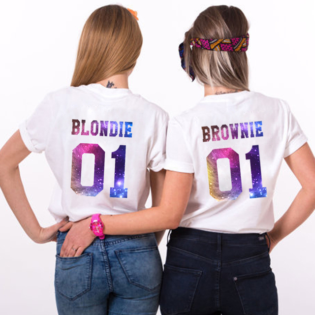 c1f7f4c5f Sister Female T-shirt Best Friends Bff Cotton tshirts Women brownie blondie  01 Letter Print Femme tshirt Tumblr Clothes Tops Tee