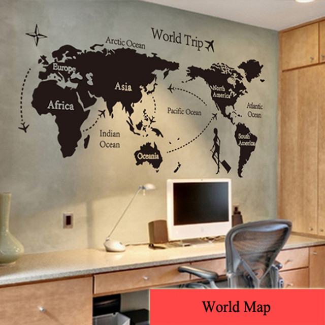 Personalise home decoration creative wall sticker world map pattern suit for living room and bedroom free