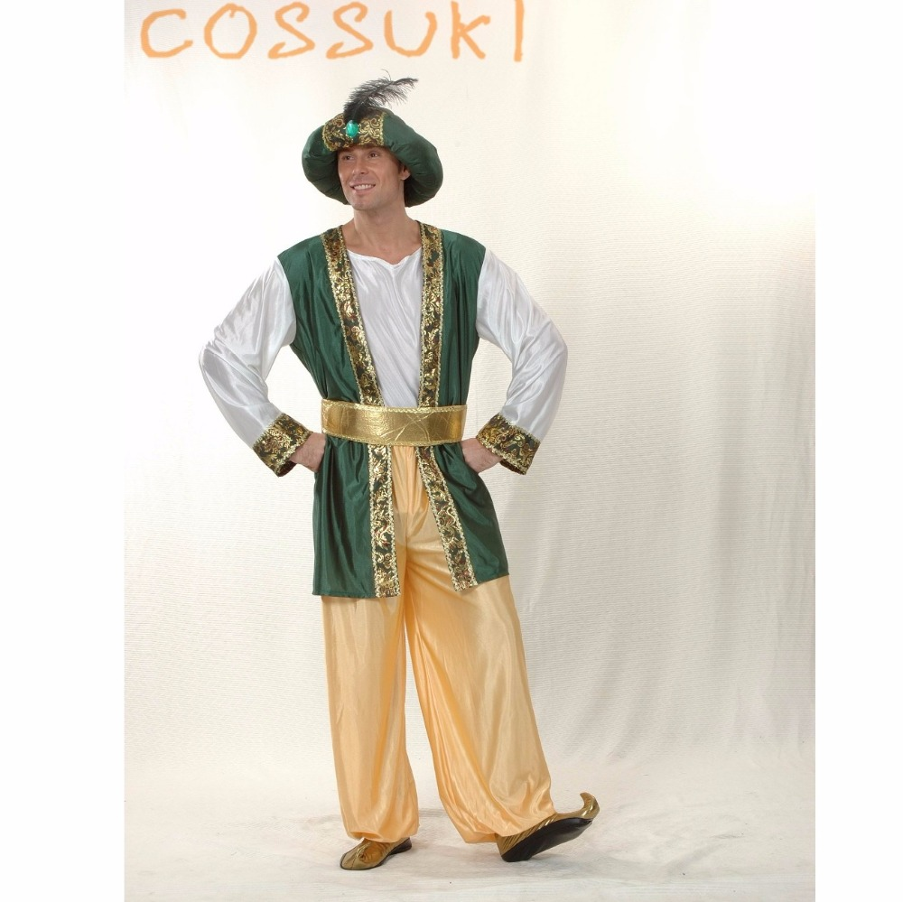 Free Shipping! Halloween Exotic Adult Men Arab Suit Cosplay Costume For Stage Performance Or Masquerade Party