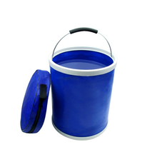 купить Freeshipping 9L Folding bucket Portable container Applicable bucket Outdoor water Fishing barrels Car washing barrels по цене 944.4 рублей