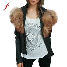 FEITOGN Women's Jacket Ladies Faux Leather Outwear Racing Style Biker Jacket Coat Autumn Winter Keep Warm Luxury Hoody coat